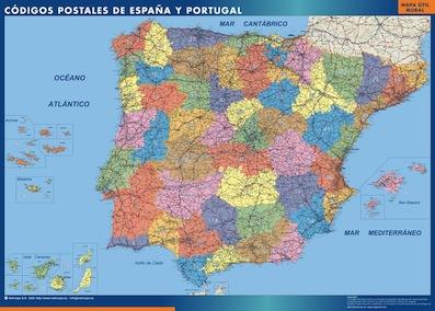 mapa plastificado españa codigos postales