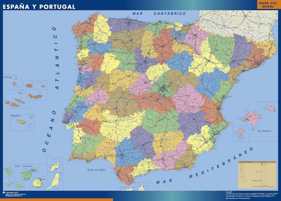 Mapa Espana plastificado provincial