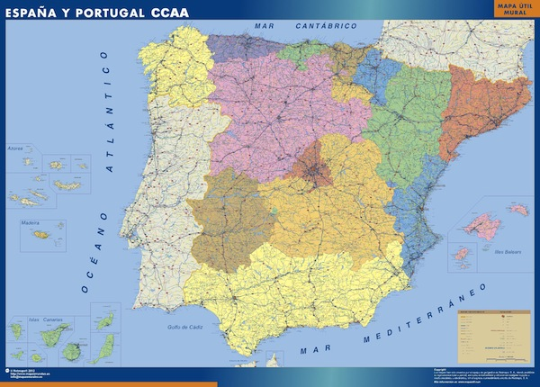 Mapa de espa a por autonom as mapas posters mundo y espa a for Codigo postal del barrio de salamanca en madrid