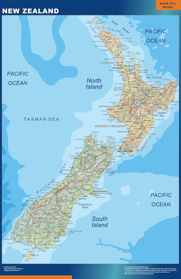 Nueva Zelanda Mapa Mundi.Mapa De Nueva Zelanda Para Ver En Postales Codigos