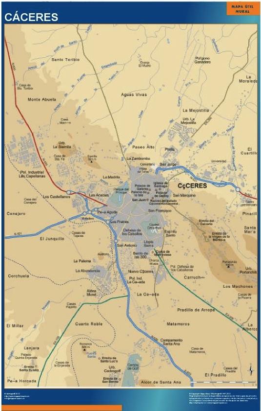 mapa caceres accesos