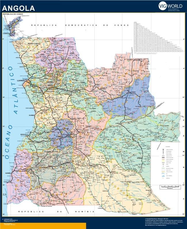mapa carreteras angola