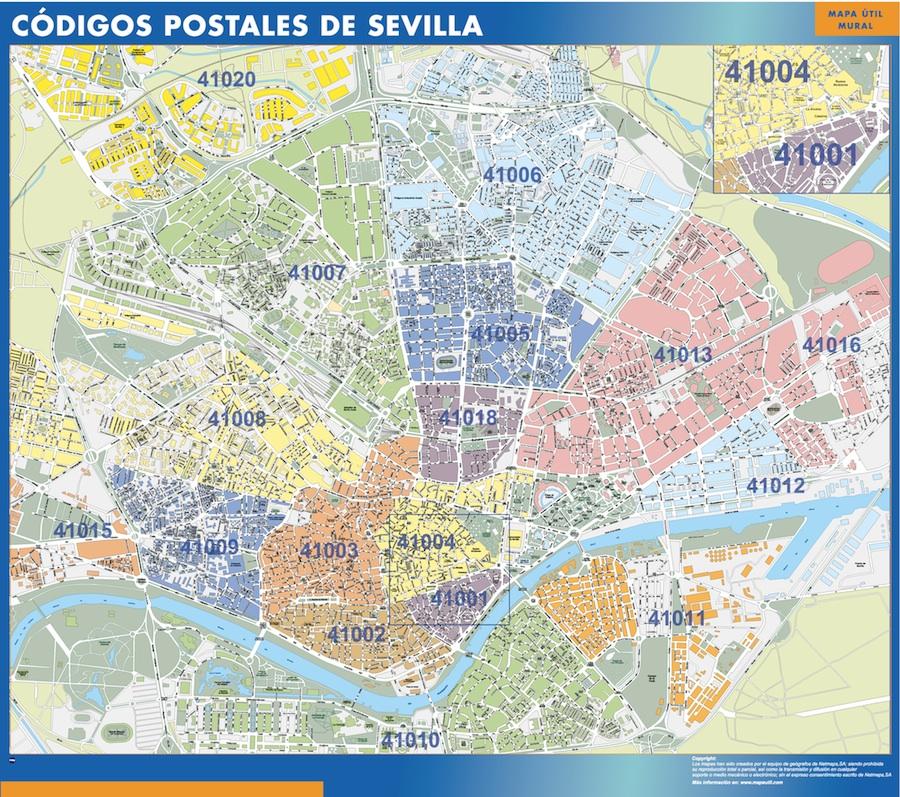 mapa sevilla codigos postales