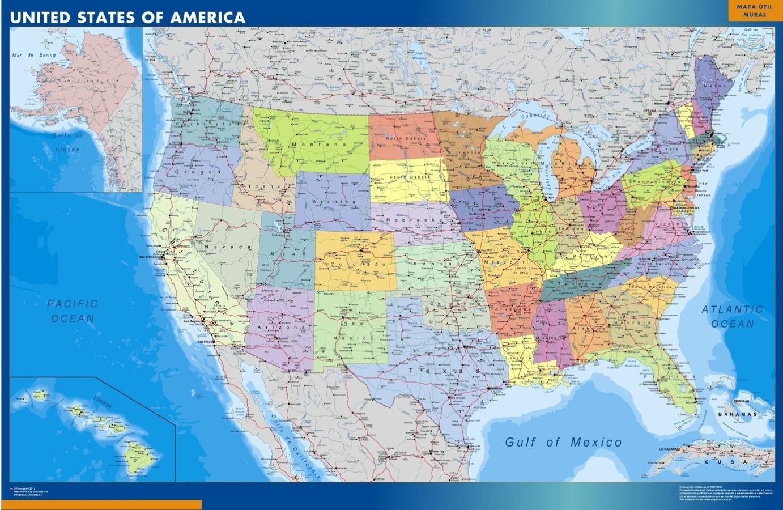 mapa plastificado estados unidos