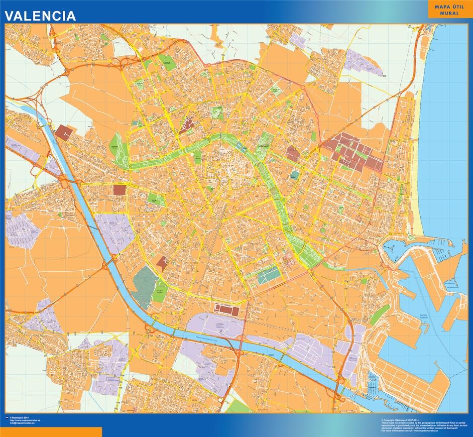 Mapa De La Ciudad De Valencia España.Comprar Mapas Valencia Mapas Murales Espana Y El Mundo