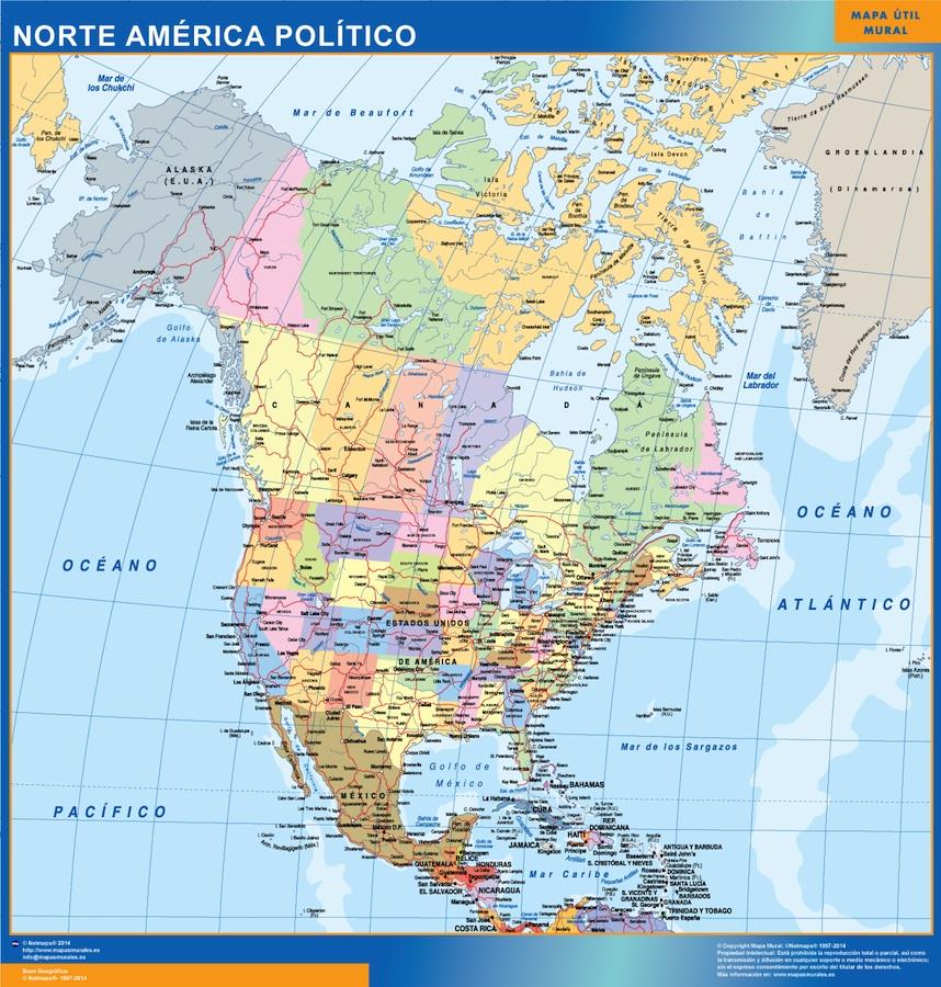 mapa america norte
