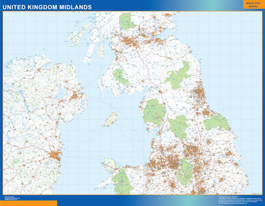 Reino Unido mapa midlands