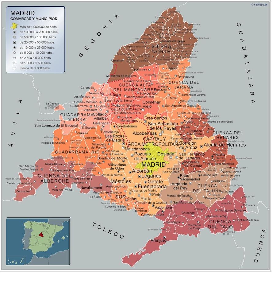 Mapa Comunidad De Madrid Por Codigos Postales.Mapa De Pueblos De Madrid Mapa