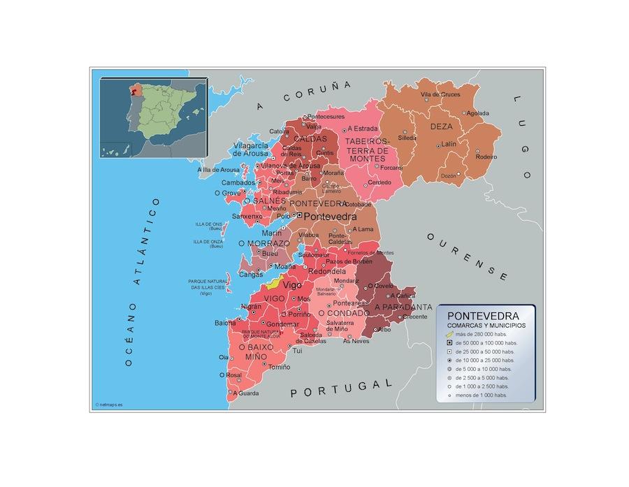 Municipios Pontevedra Mapas Murales Espana Y El Mundo