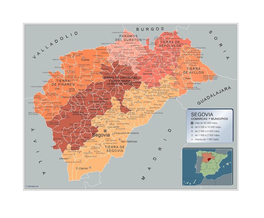 Pueblos De Segovia Mapa.Municipios Segovia Mapas Murales Espana Y El Mundo