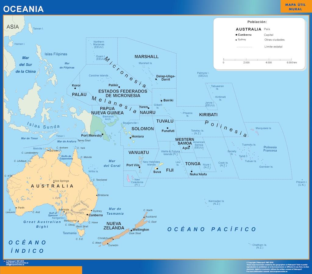 Mapa Oceania | Tienda mapas murales España